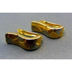 Zlaté náušnice zaoblené v žltom a bielom zlate VA178