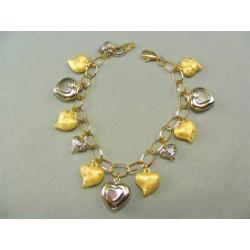 Zlatý náramok s príveskami srdiečok DN18829