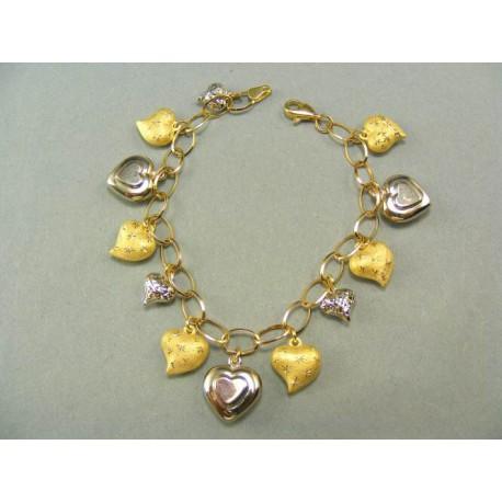 Zlatý náramok s príveskami srdiečok