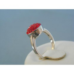 Strieborný dámsky prsteň červené Swarovského krištáliky VPS51327