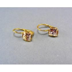 Zlaté náušnice žlté zlato zirkón klasické zapínanie VA349