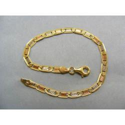 Zlatý náramok viacfarebné zlato vzor žiletka