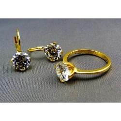Zlatá súprava s kameňom náušnice prsteň VSP56678