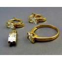 Zlatá súprava s kamienkom obdĺžnika prsteň náušnice prívesok VSP55733