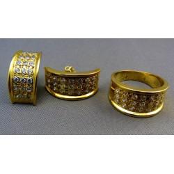 Zlatý súprava žlté zlato náušnice a prsteň ozdoba zirkóny VSP561331Z