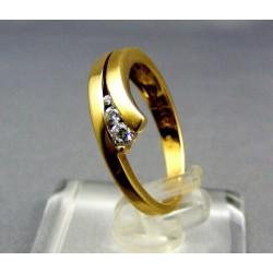 Zlatý prsteň s malými kamienkami žlté zlato VP54275Z