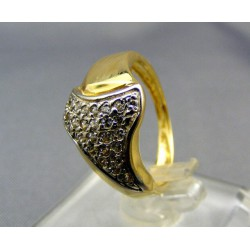 Zlatý prsteň dámsky gravirovany žlté biele zlato VP54334V
