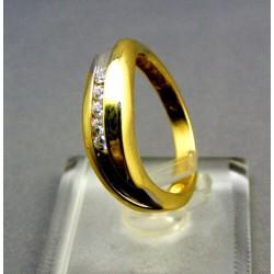 Zlatý prsteň s leskom žlté zlato male kamienky VP55414Z