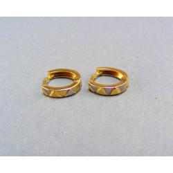 Zlaté náušnice viacfarebné zlato VA123/1