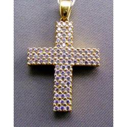 Zlatý prívesok krížik žlté zlato so zirkónmi VI530K
