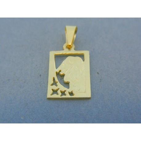 Prívesok platnička žlté zlato znamenie lev DI170Z