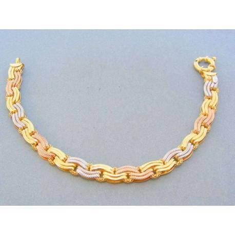 Nádherny vzorovaný náramok trojfarebne zlato VN19822V