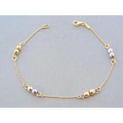 Zlatý náramok žlté biele zlato guličky VN19229V
