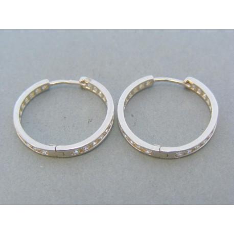 Zlaté náušnice kruhy biele zlato zirkón VA344B