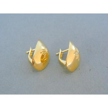 Oble vzorované náušnice žlté zlato VA195Z