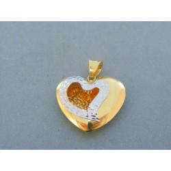 Zlatý prívesok srdiečko dvojfarebné zlato VI345V