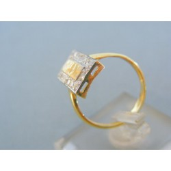 Zlatý prsteň žlté biele zlato zirkóny DP56358V
