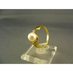 Zlatý prsteň dámsky s perlou kultivovanou žlté zlato DP56265Z