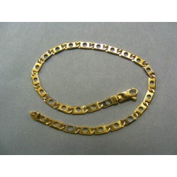 Zlatý náramok žlté zlato s rovnákymi očkami a otvorom v strede VN19501Z
