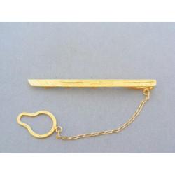 Vzorovaná kravatová spona žlté zlato VSP324Z
