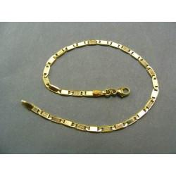 Zlatý náramok žlté zlato dva očka bez vzoru jedno so vzorom VN18279Z