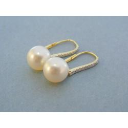 Zlaté náušnice žlté zlato perla briliant VAB484Z