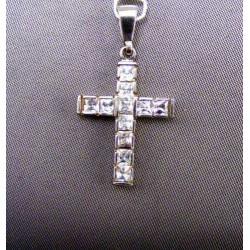Prívesok krížik biele zlato