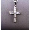 Zlatý prívesok krížik biele zlato kamienky VI327KB