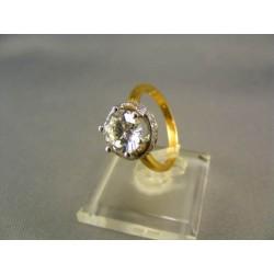 Zlatý prsteň s jedným zirkónom žlté zlato VP53445Z