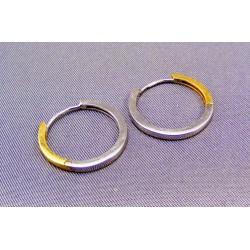 Zlaté náušnice dvojfarebné kruhy VA259