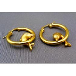 Zlaté náušnice s delfínom tvar kruh VA527