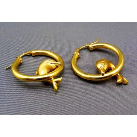 Zlaté náušnice s delfínom