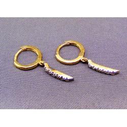 Zlaté náušnice štýlove v žltom zlate s kamienkami VA151