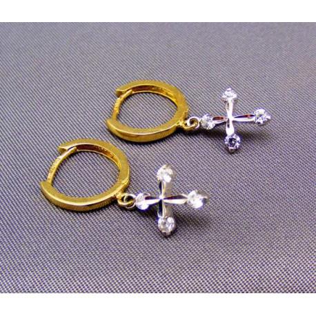Zlaté náušnice s krížíkom z bieleho zlata