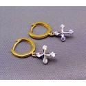 Zlaté náušnice s krížíkom z bieleho zlata VA219