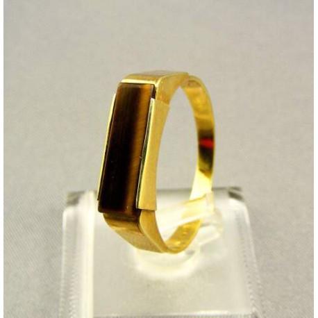 Zlatý pánsky prsteň s kameňom tigrie oko