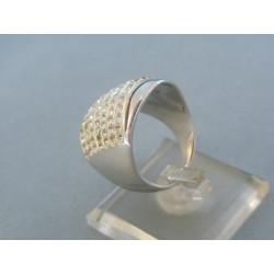 Strieborný prsteň elegantný kamienky VPS571018
