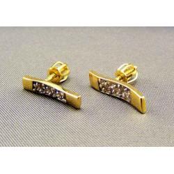 Zlaté náušnice s kamienkami obdĺžnik VA201