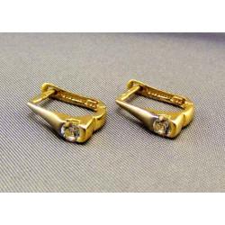 Zlaté náušnice dvojfarebné kamienok okrúhly VA230/1