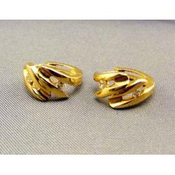 Zlaté náušnice žlté zlato zirkóny zaujímavy tvar VA279
