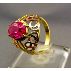 Zlatý dámsky prsteň s ružovým kameňom žlté zlato VP54485Z