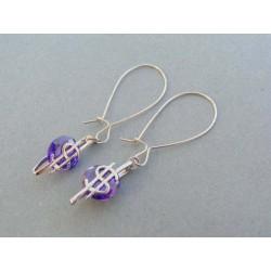 Vzorované dámske náušnice striebro fialový kameň VAS447str