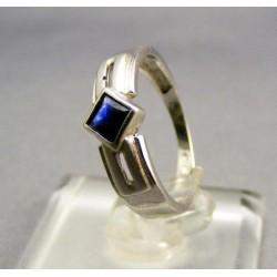 Zlatý prsteň biele zlato, syntetický safír VP51235B