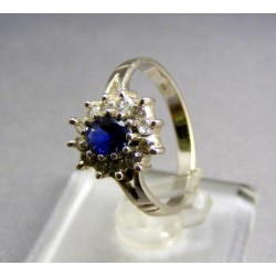 Zlatý prsteň biele zlato, syntetický safír VP54299B