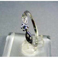Zlatý dámsky prsteň, biele zlato kamienok v korunke VP54122B