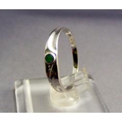 Zlatý prsteň biele zlato, syntetický smaragd VP55085B