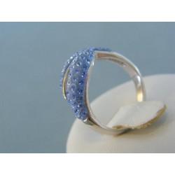 Strieborný prsteň modré krištáliky DPS53349