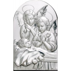 Strieborný obraz anjeli s malým dieťaťom D05.3799.71