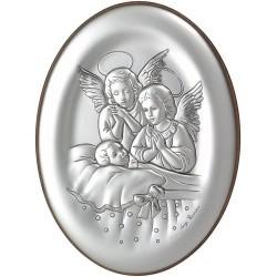 Strieborný obraz anjeli s malý dieťaťom oválny tvar D05.7199.71