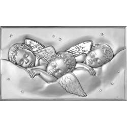 Strieborný obraz spiacich anjelikov D280